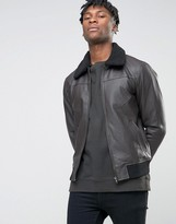 Bl7ck Leather Look Jacket With Faux Fur Collar