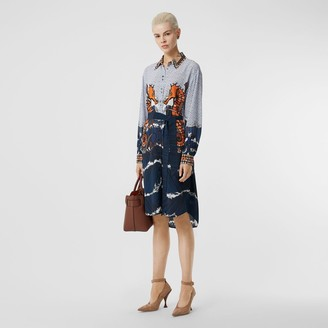 Burberry Seahorse and Monogram Print Silk Shirt Dress