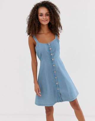 JDY chambray denim button through mini dress