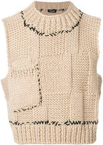 Raf Simons sleeveless patch effect gilet