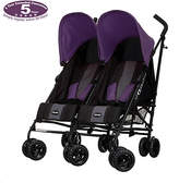 O Baby Obaby Apollo Black and Grey Twin Stroller - Purple