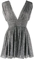 Saint Laurent pleated metallic silk mini dress