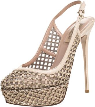 Valentino Beige Lattice Leather And Mesh Studded Slingback Platform Sandals Size 38