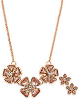 Charter Club Rose Gold-Tone Crystal Pink Flower Necklace & Stud Earrings Set, Created for Macy's