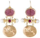 Tagliamonte 14K Venetian Cameo Ruby and Pearl Drop Earrings