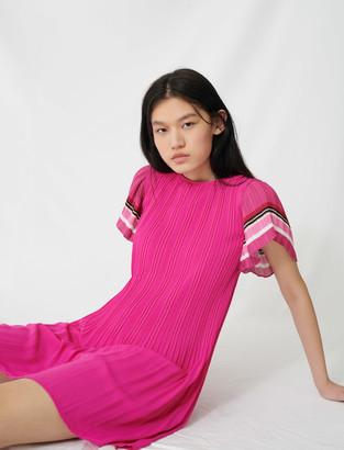 Maje Pleated dress with sporty stripes