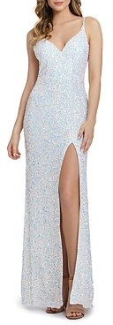 Mac Duggal V Neck Sequined Gown