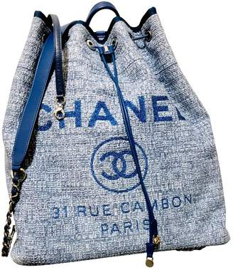 Chanel Deauville Blue Cloth Backpacks