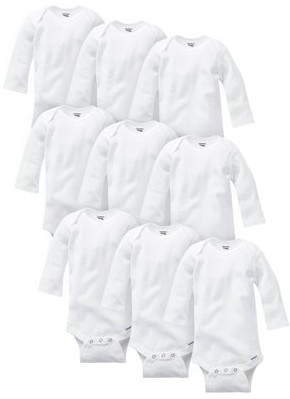 Gerber Baby Boy or Girl Gender Neutral Organic Onesies Bodysuits Grow-With-Me Bundle, 9-Pack