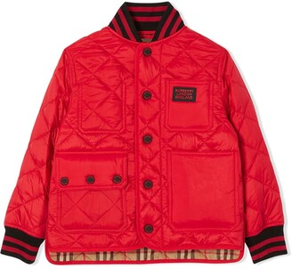 BURBERRY KIDS Diamond Quilted Buttoned Jacket