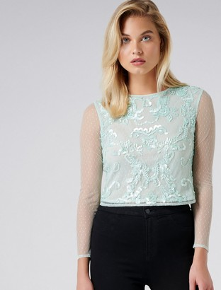 Forever New Audrey embellished dobby top - Mint - s