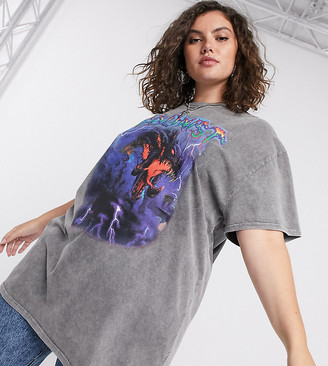 New Girl Order Curve oversized t-shirt in washed grey with grunge graphic