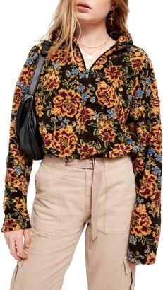 Urban Outfitters BDG Burg Floral Fleece Quarter Zip Crop Pullover
