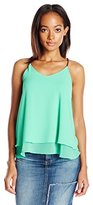 Blu Pepper Women's Double-Layered Top With Braided Faux Leather Spaghetti Straps