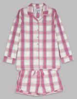 Marks and Spencer Pure Cotton Shirt and Shorts Checked Pyjamas(1-16 Years)
