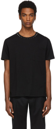 Valentino Black Collar Rockstud T-Shirt