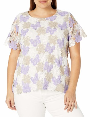Alfred Dunner Women's Plus Size Butterfly Lace Shirt