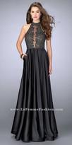La Femme Sheer Lace Satin A-line Racer Cutout Prom Dress