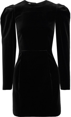 Valentino Open-back Bow-embellished Cotton-velvet Mini Dress