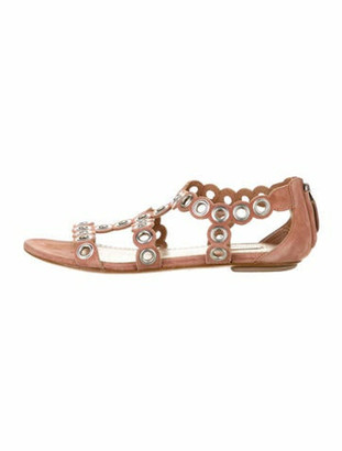 Alaia Leather Studded Accents Sandals Pink