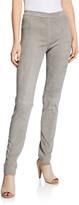 Iris von Arnim Jody Skinny-Leg Stretch Velour Leather Pants