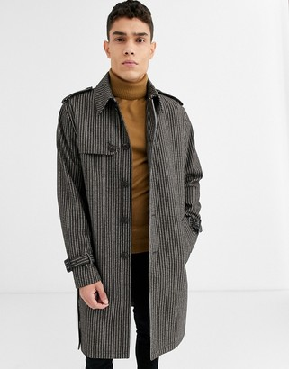 ASOS DESIGN single breasted wool mix trench coat in check