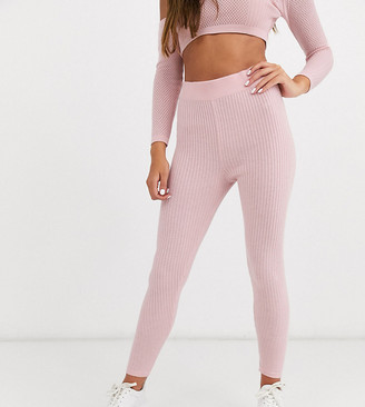 ASOS DESIGN Petite two-piece knitted leggings with mesh stitch detail in pink
