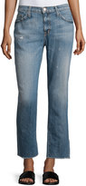 Current/Elliott Unrolled Cropped Jeans, Bombay Destroyed