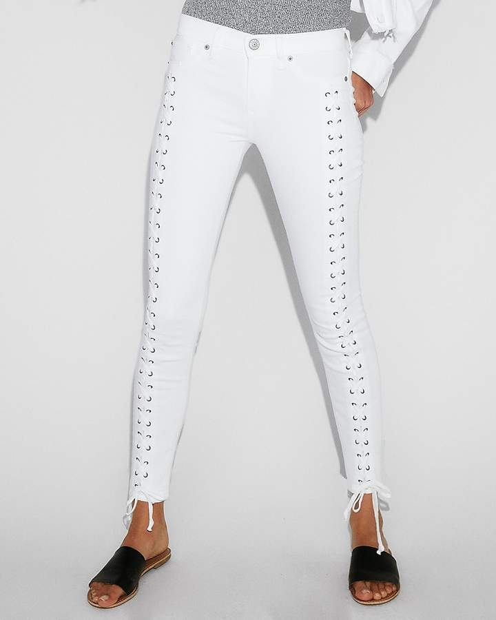 Express Mid Rise White Lace-Up Stretch Ankle Leggings
