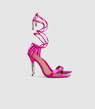 Reiss Zhane - Satin Strappy Wrap Sandals in Bright Pink