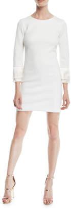 Halston Shimmer Knit Mini Cocktail Dress w/ Fringe Cuffs