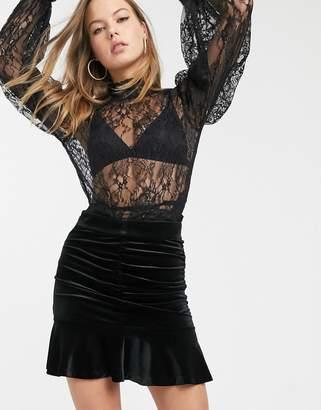 And other stories & velvet jacquard ruched mini skirt in black