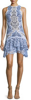 Jonathan Simkhai Two-Tone Lace Ruffle Hem Mini Dress