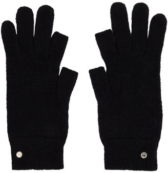 Rick Owens Black Mohair Touchscreen Gloves