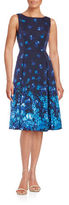 Adrianna Papell Floral-Print Pleated Sleeveless A-Line Dress