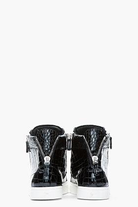Giuseppe Zanotti Black patent leather Croc-embossed London sneakers