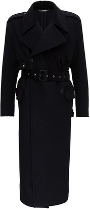 Dolce & Gabbana Multi-pockets Double-breasted Trench Coat With Raw Edge Details