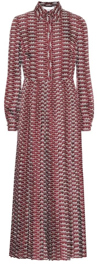 Valentino Logo silk midi shirt dress
