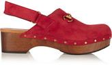 Gucci Horsebit-detailed Suede Clogs - Red