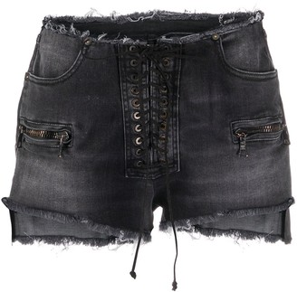 Unravel Project Frayed Lace-Up Denim Shorts
