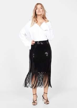 MANGO Violeta BY Fringed sequin skirt black - L - Plus sizes