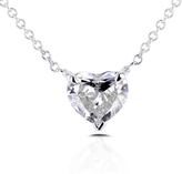 Ice 1/2 CT TW Heart Shaped Diamond 14K White Gold Necklace with AGA Certification