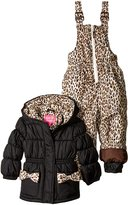 "Pink Platinum Little Girls' Toddler ""Leopard Bow"" 2-Piece Snowsuit"