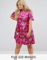 Alice & You High Neck Shift Dress In Embroidered Brocade