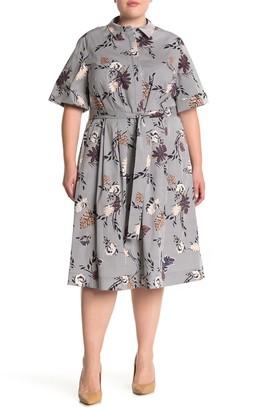 Lafayette 148 New York Eleni Floral Stripe Print Dress (Plus Size)