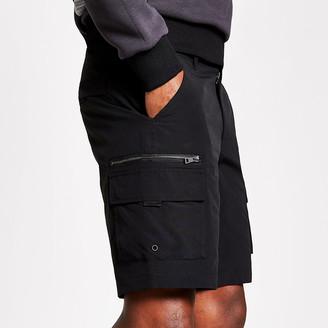 River Island Black slim fit cargo shorts