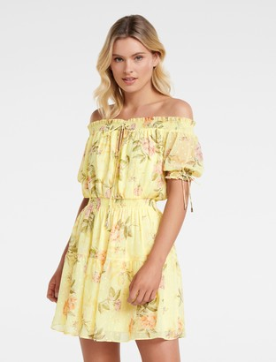 Forever New Aspyn Shirred Bardot Dress - Duchess Rose Botanical - 14