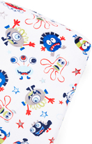 White & Blue Monsters Minky Changing Pad Cover