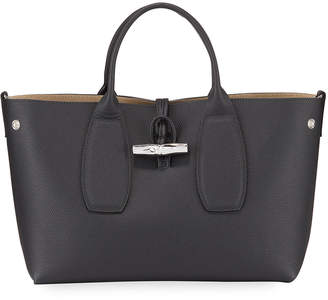 Longchamp Roseau Medium Leather Top-Handle Tote Bag with Shoulder Strap