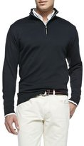 Peter Millar Cotton 1/2-Zip Pullover, Black